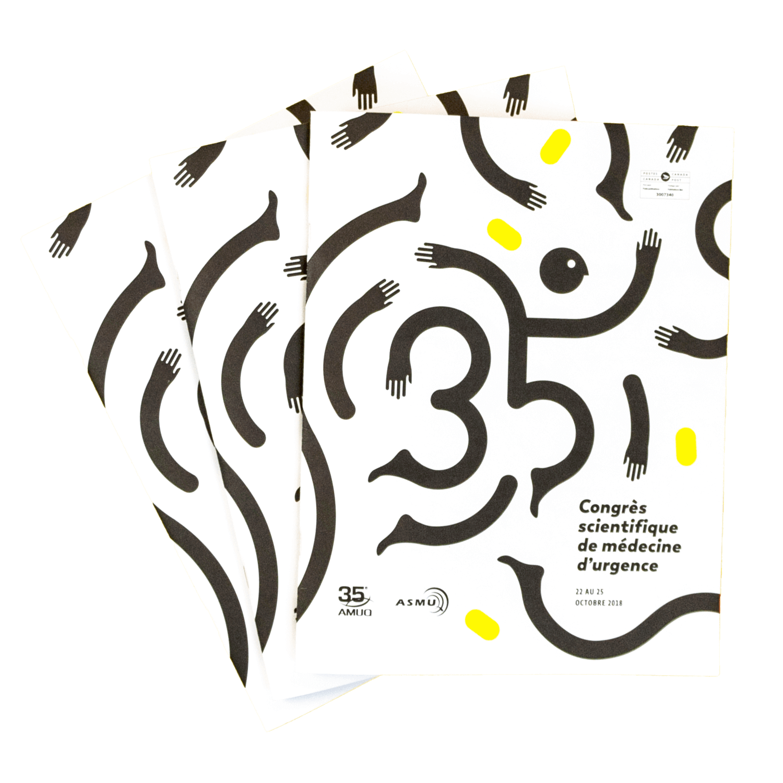 Visuel événementiel | Couverture du programme du Congrès scientifique de médecine d'urgence 2018 | AMUQ