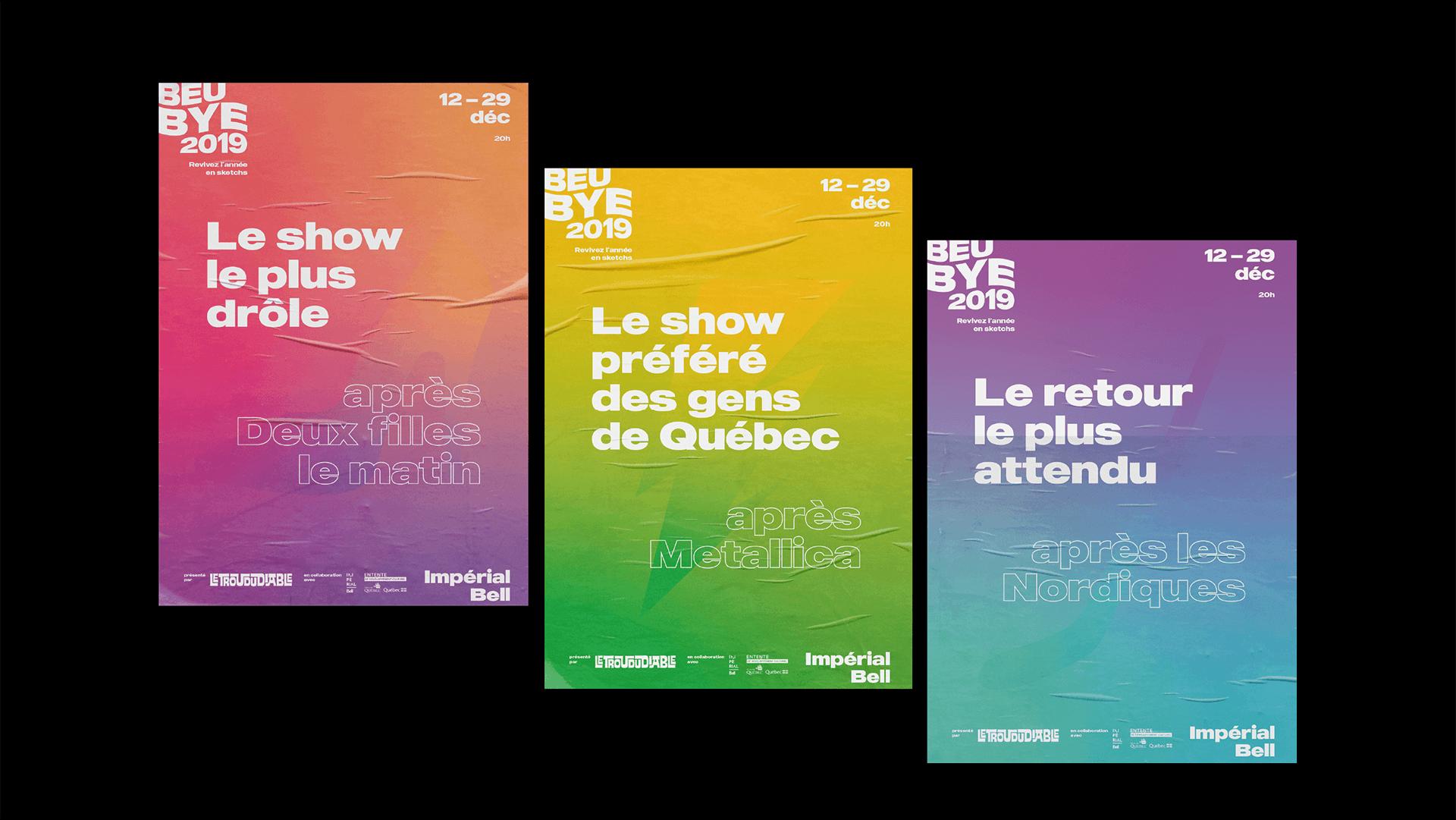 Visuel événementiel   Trois versions de l'affiche de l'édition 2019   Beubye