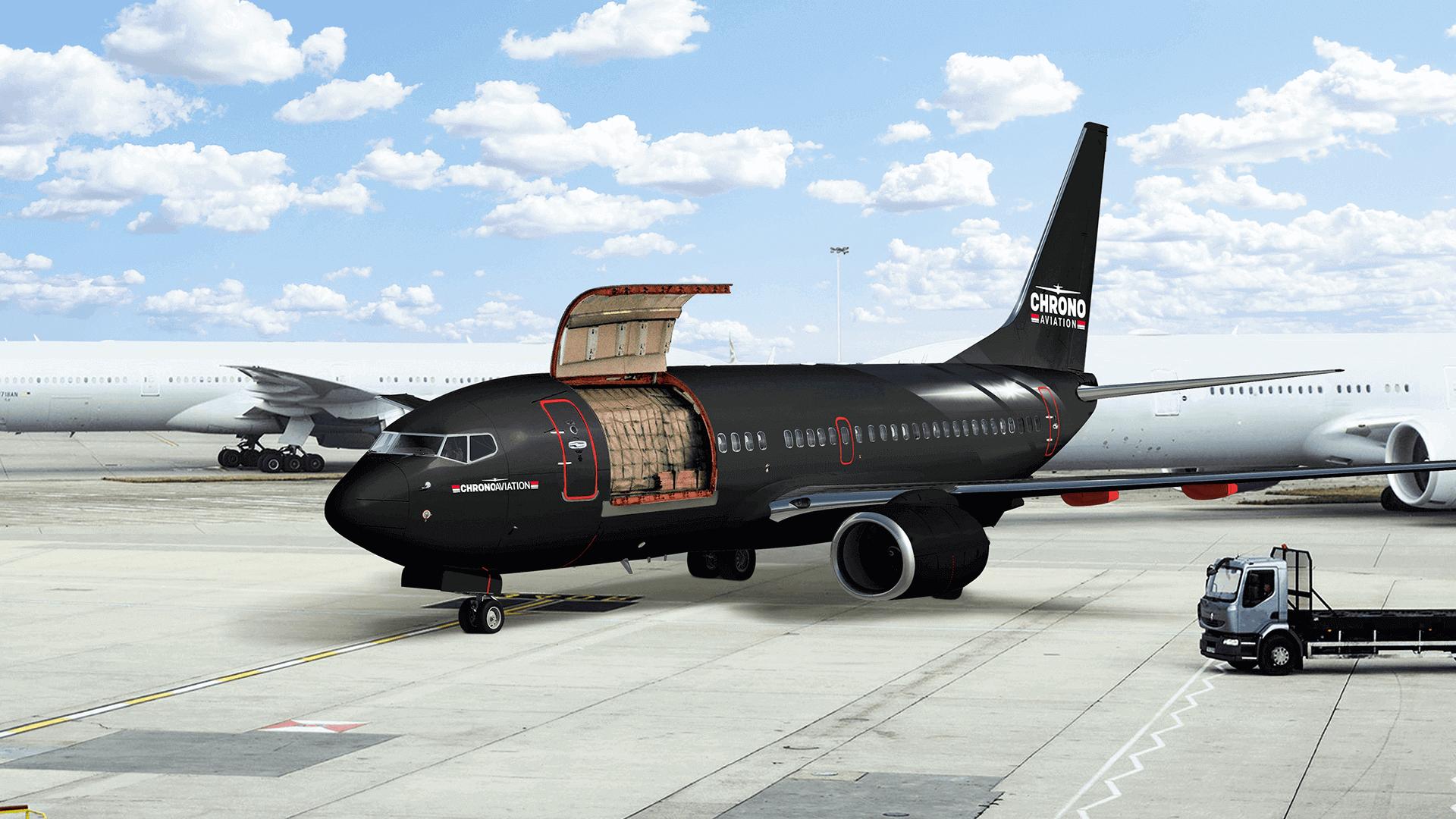 Identité visuelle   Chargement d'un Boeing 737   Chrono Aviation