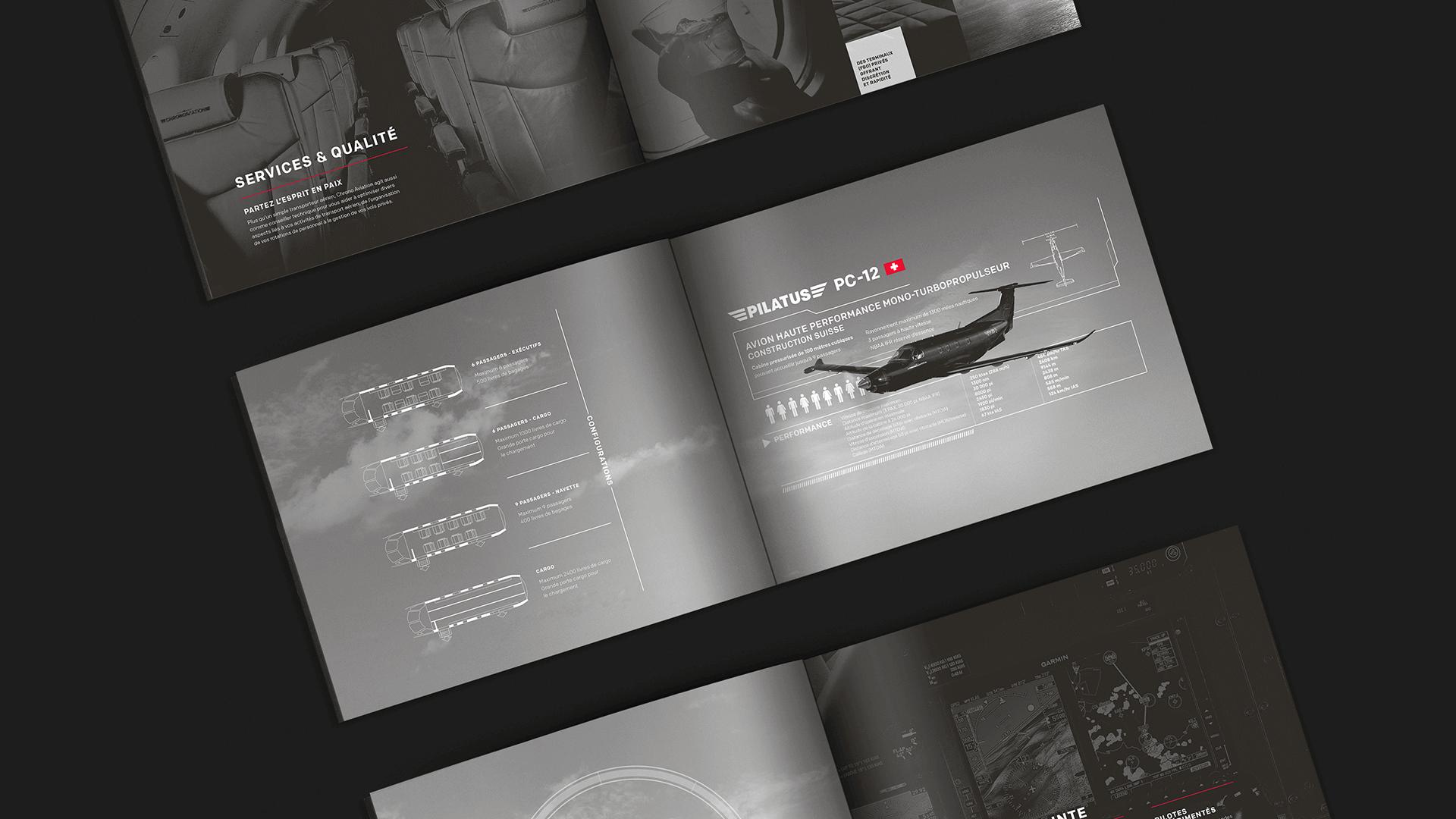 Identité visuelle  Brochure corporative ouverte   Chrono Aviation