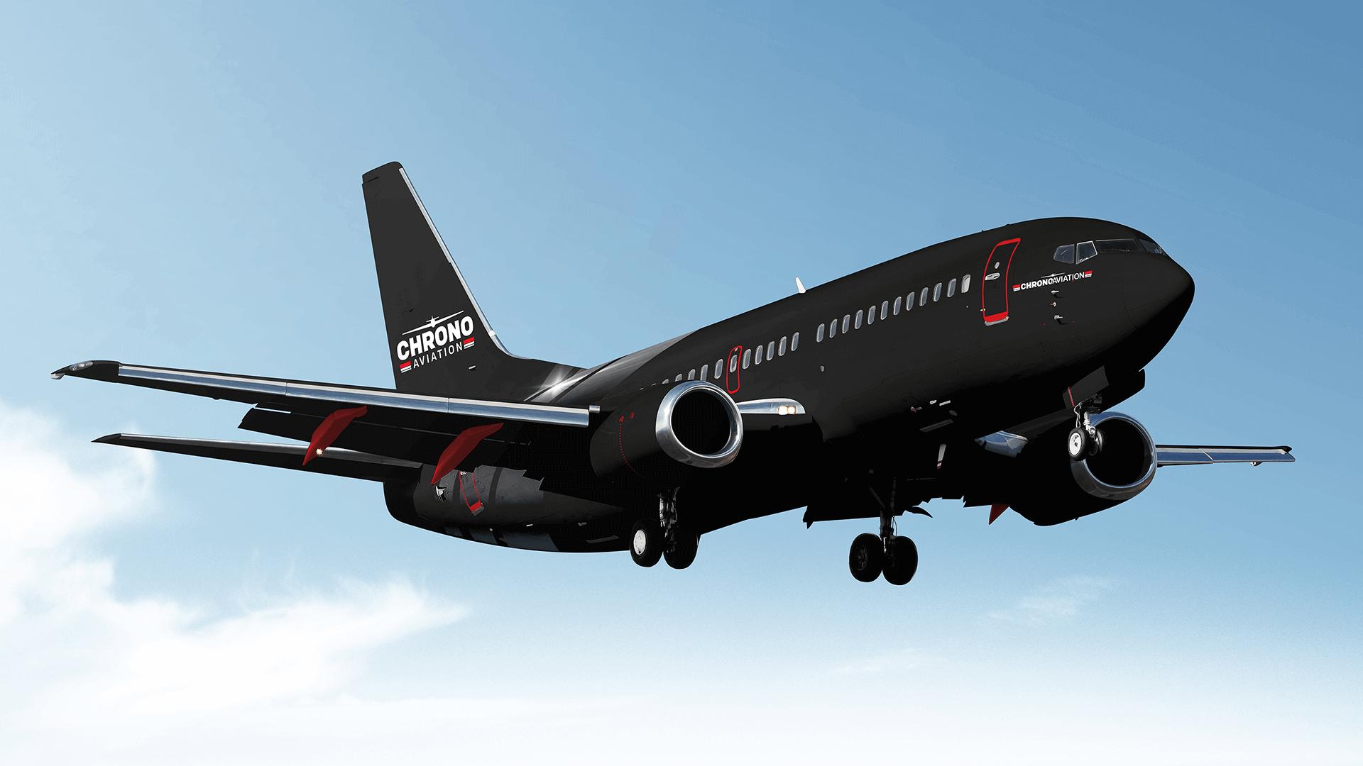 Identité visuelle   Boeing 737 noir vu de face   Chrono Aviation