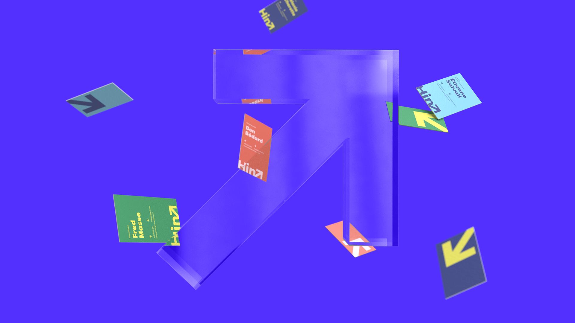 Branding | Flèche 3D transparente avec des cartes d'affaires qui tombent en arrière plan | Hint - Marketing numérique