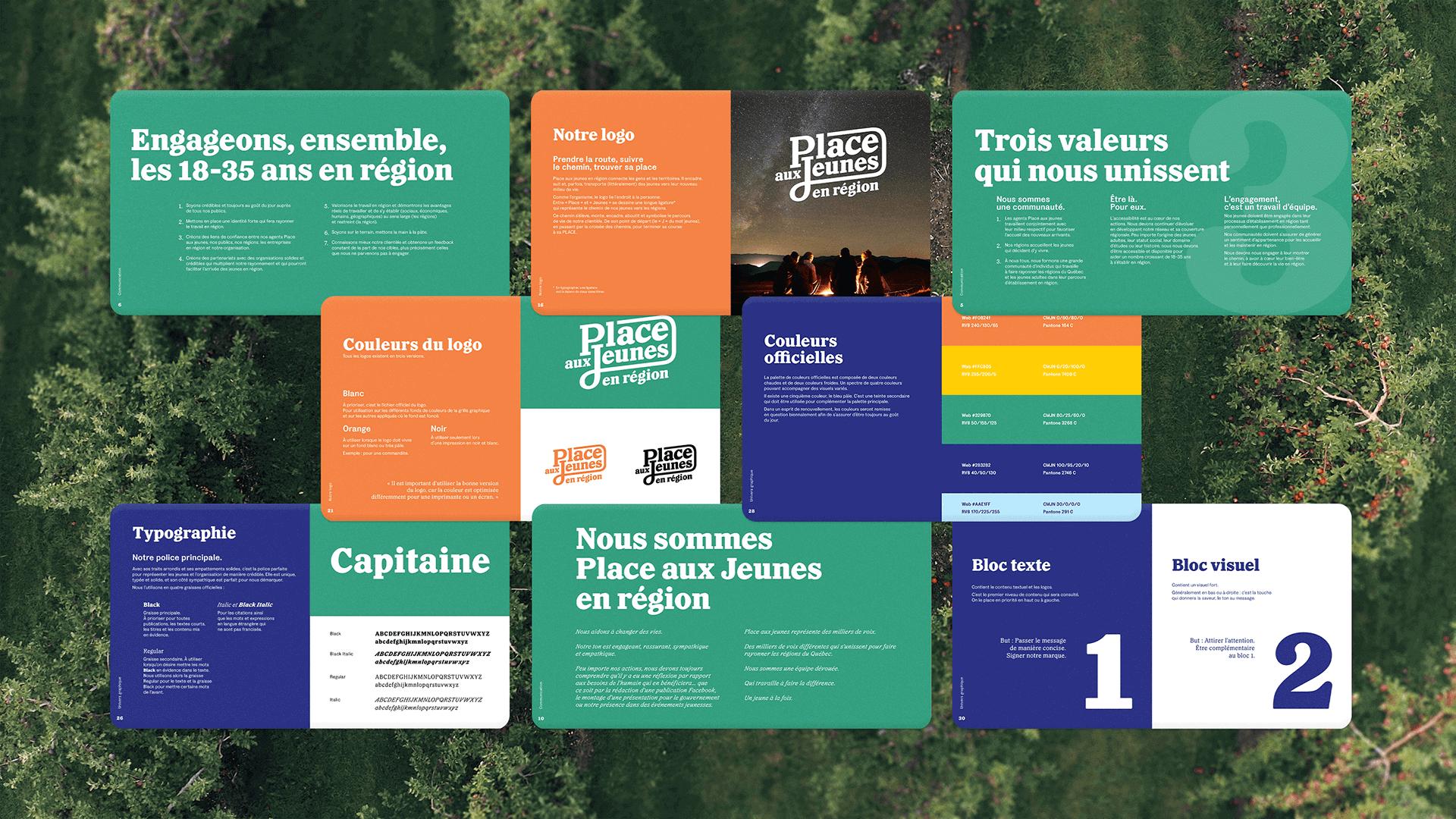 Branding et Campagne publicitaire |Pages intérieur du cahier de marque (brand book) de PAJR | Place aux jeunes en région
