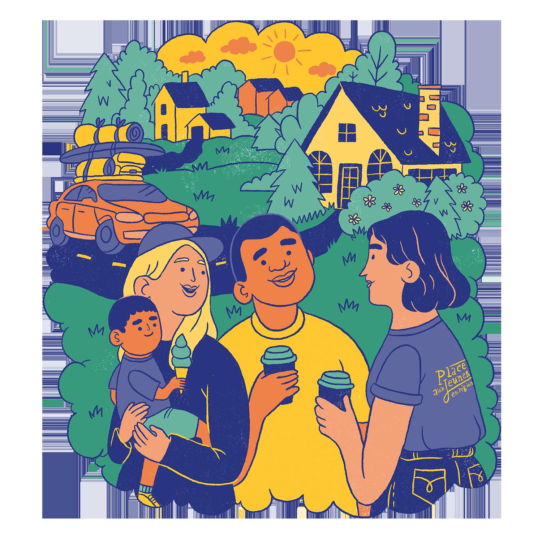 Branding et Campagne publicitaire |Illustration d'une famille avec un agent de placement de PAJR | Place aux jeunes en région