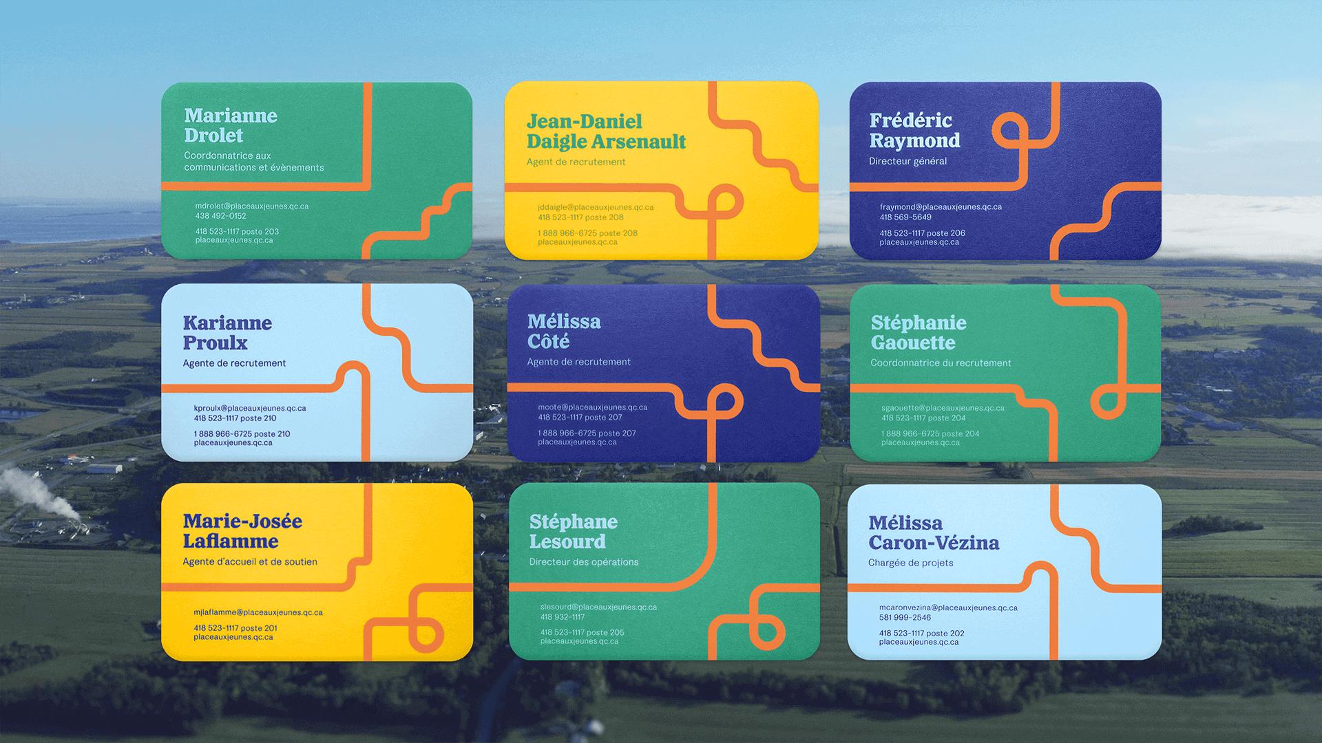 Branding et Campagne publicitaire |Cartes d'affaires aux couleurs de PAJR | Place aux jeunes en région