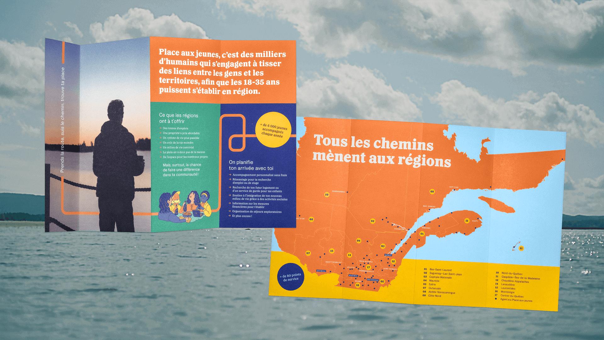 Branding et Campagne publicitaire |Dépliant avec une carte du Québec | Place aux jeunes en région