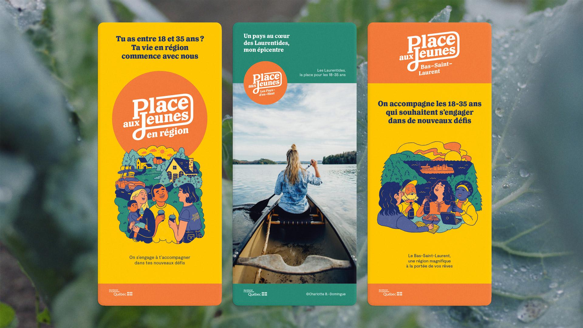 Branding et Campagne publicitaire | Trois différents Roll Ups utilisés par PAJR lors d'événements | Place aux jeunes en région