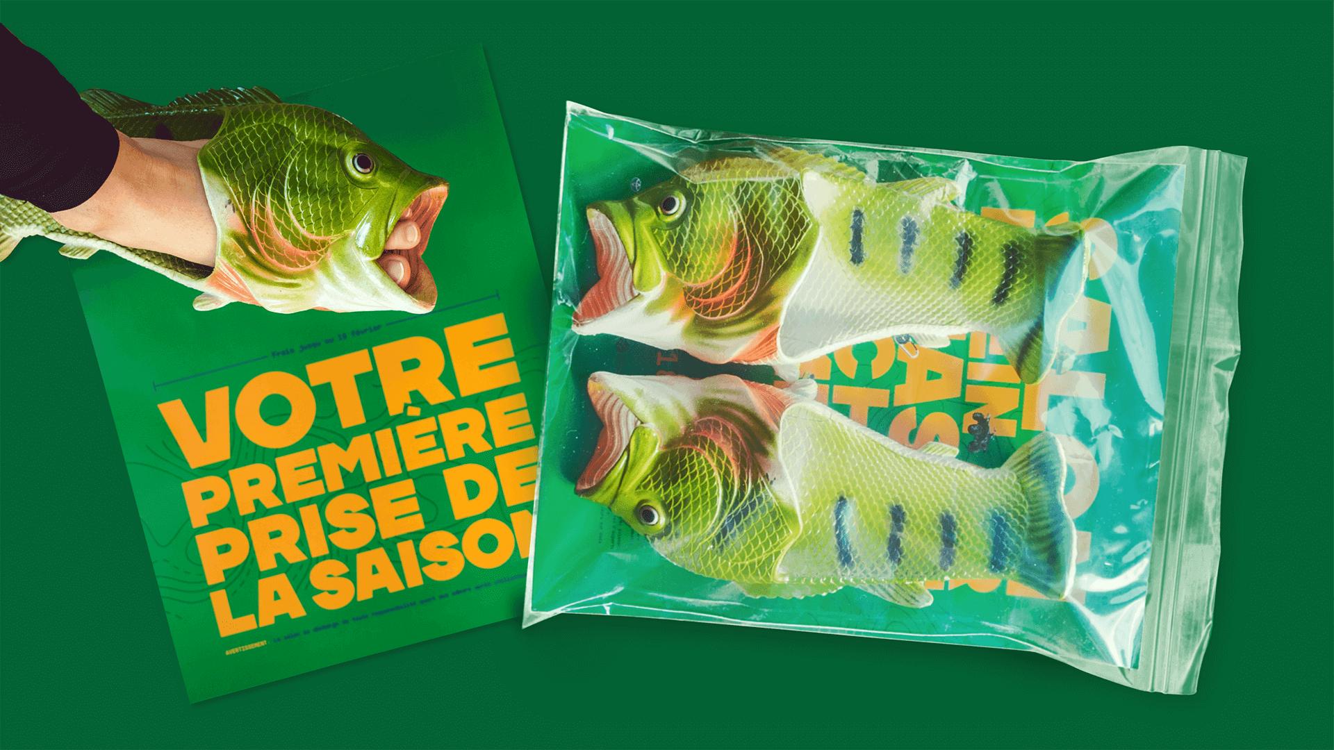 Campagne publicitaire événmentielle   Cadeau RP - Sandales poissons   Salon Plein Air Chasse Pêche et Camping