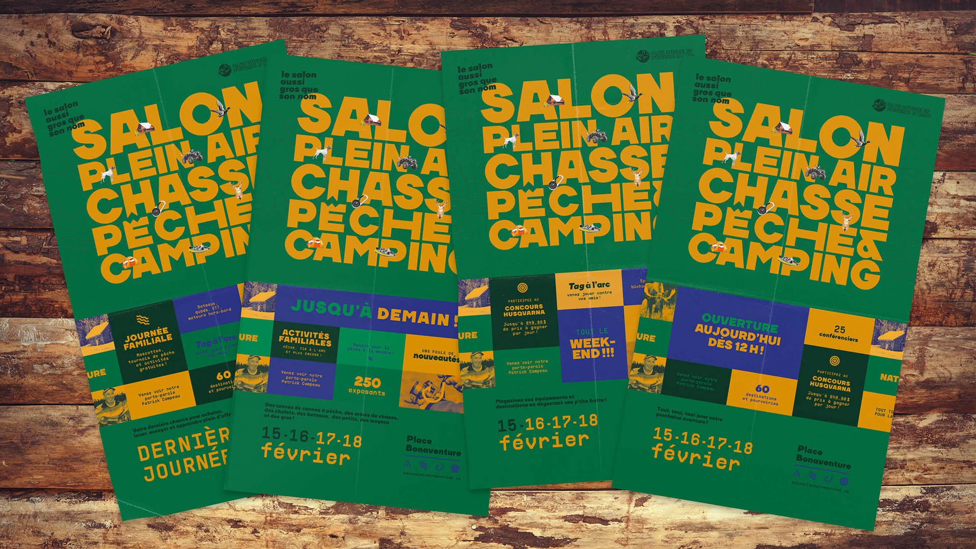 Campagne publicitaire événmentielle   Publicité imprimée   Salon Plein Air Chasse Pêche et Camping