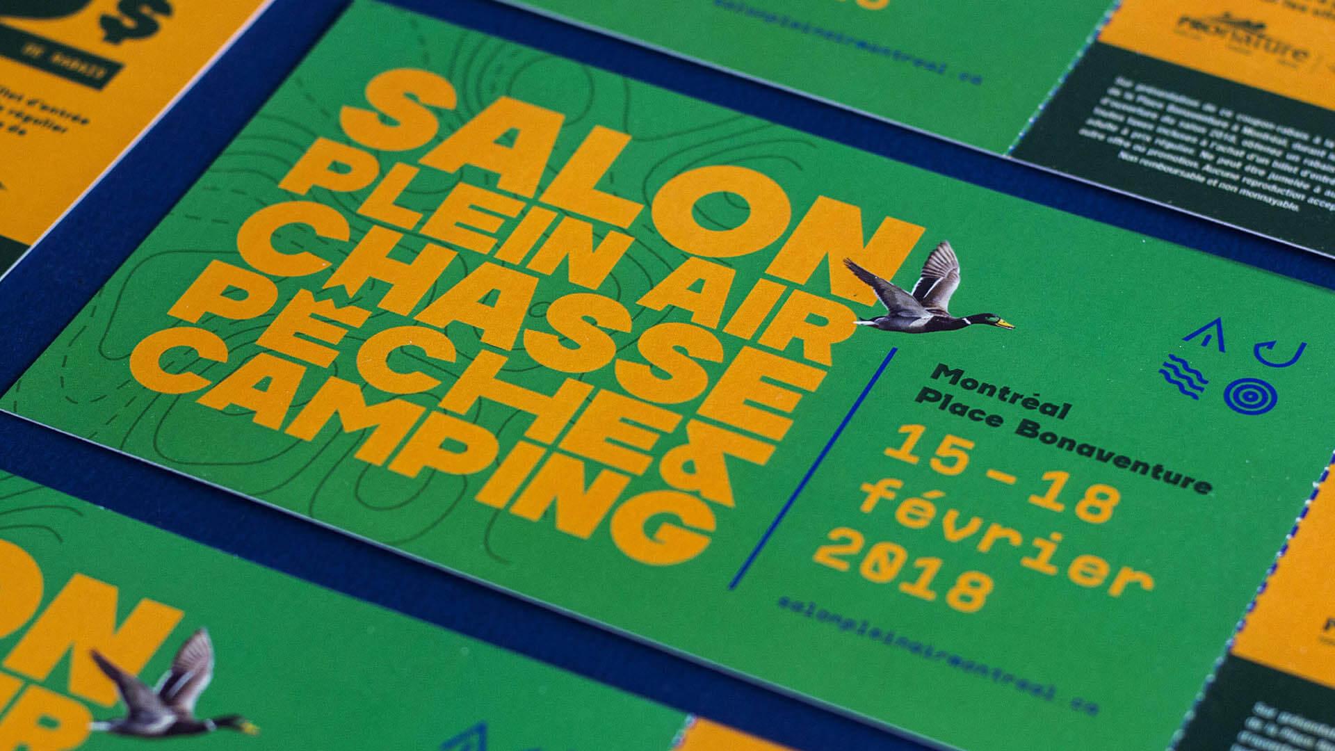 Campagne publicitaire événmentielle   Billet   Salon Plein Air Chasse Pêche et Camping