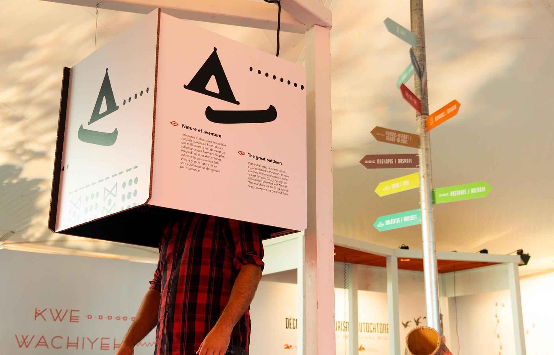 Identité visuelle |Affiche suspendue en forme de cube |TAQ
