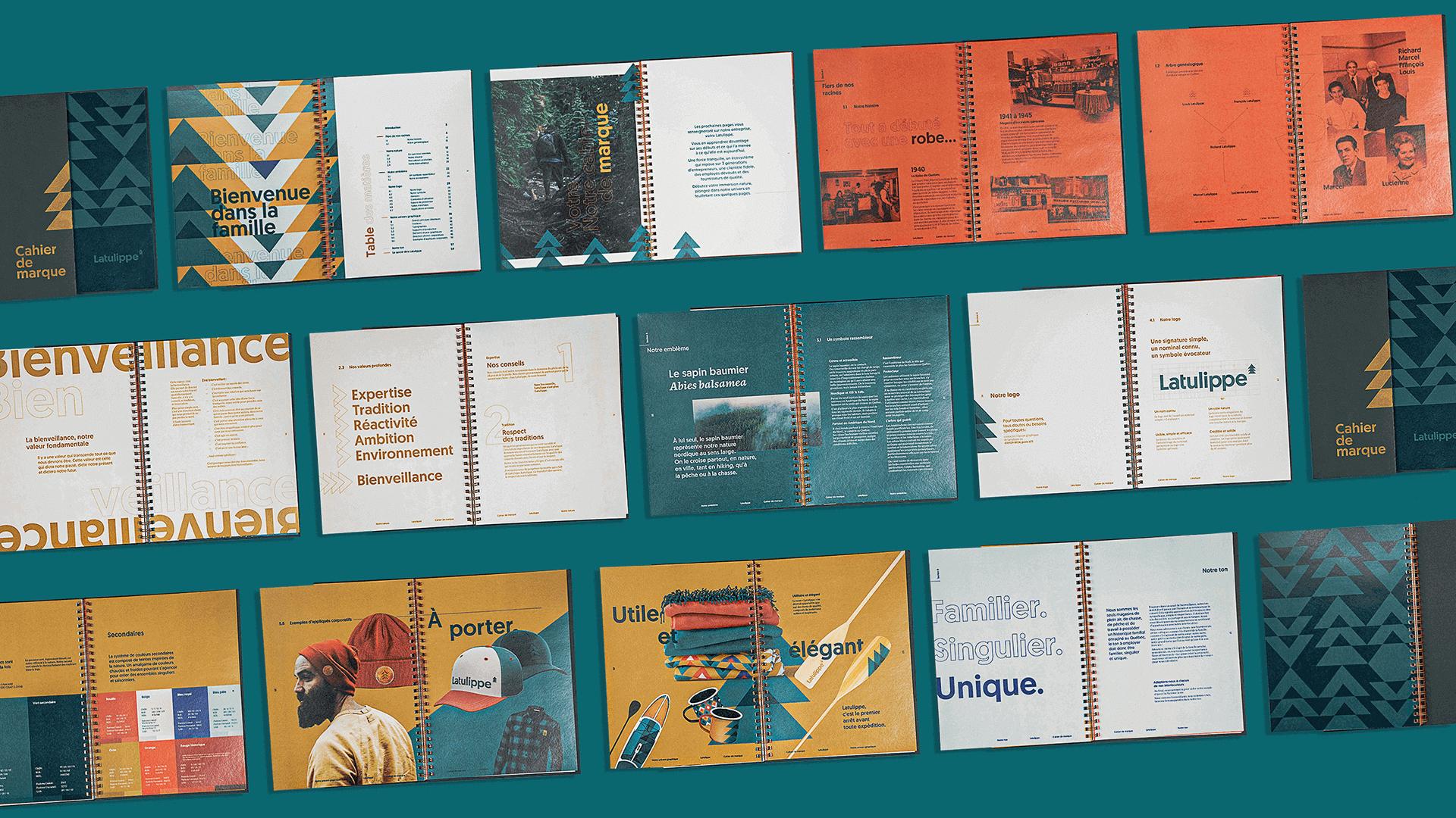 Branding   Mosaïque composée des pages intérieures du cahier de marque (brand book)   Latulippe