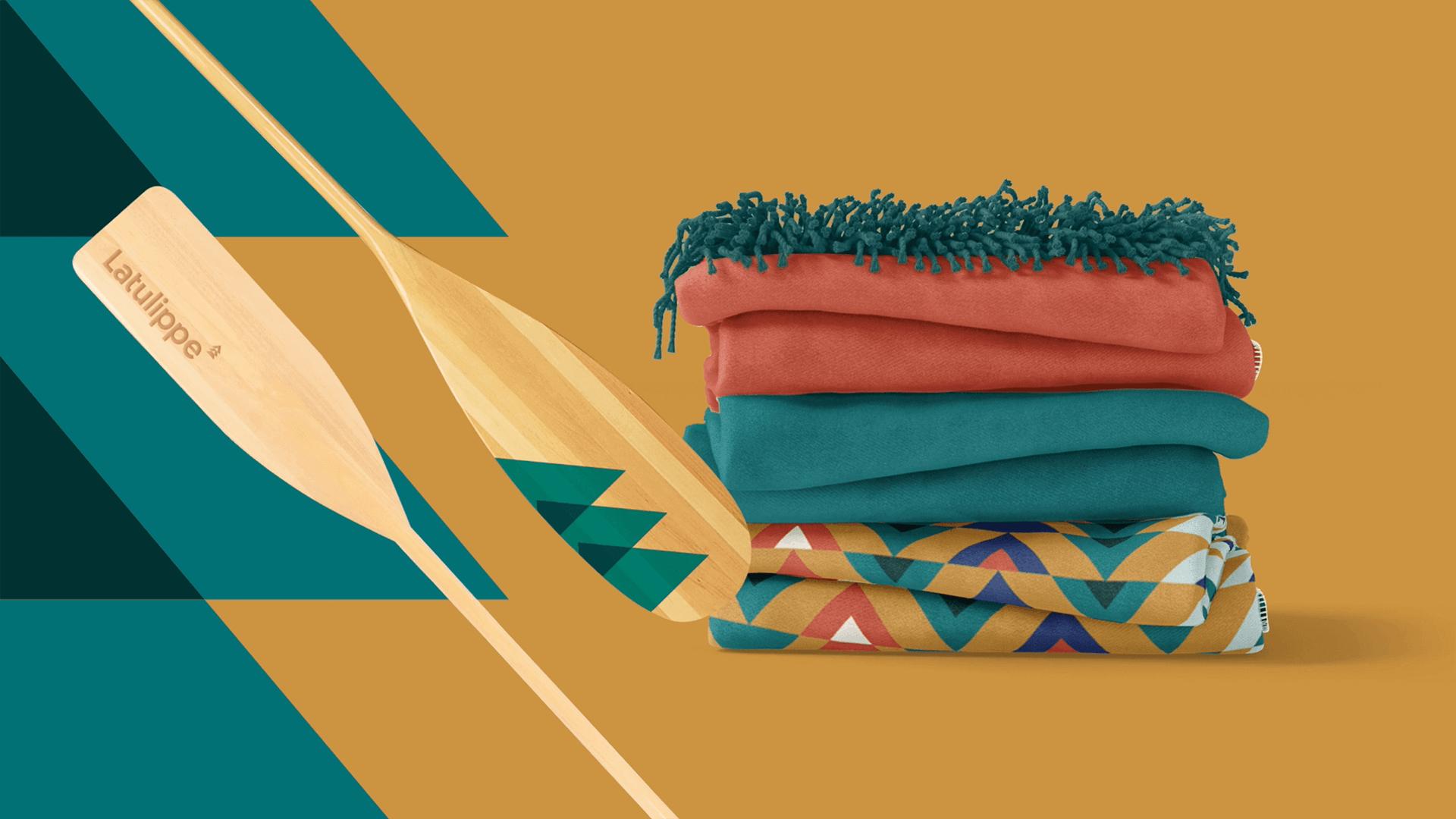 Branding   Couvertures et pagaies en bois aux couleurs de Latulippe